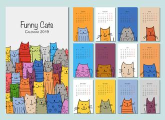 Funny cats. Design calendar 2019