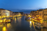 Venice night city skyline at Venice Grand Canal view from Rialto Bridge, Venice Italy