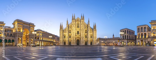 Sticker Milan panorama city skyline sunrise at Milano Duomo Cathedral, Milan Italy