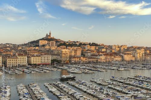 Marseille aerial view city skyline at Vieux Port and Notre-Dame de la Garde Basilica, Marseille France