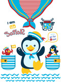 Vector illustrations of penguin cartoon with sailing equipments