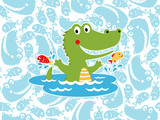 Vector of happy crocodile cartoon on seamless pattern background