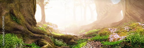 path through the woods, magical fantasy forest at sunrise - 216595443