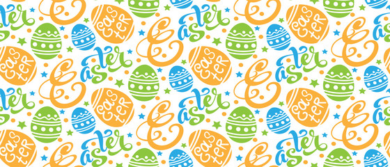 Easter background pattern texture with easter eggs and text, seamless pattern for your design Vector illustration © PETR BABKIN