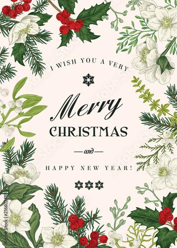 Christmas botanical card. - 216602488