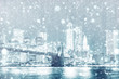 View of New york skyline with snow