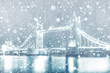 View of Tower Bridge in London with snow - 216604469