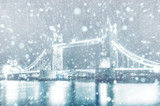 View of Tower Bridge in London with snow