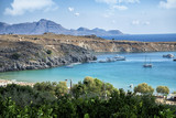 panoramic view on Lindos bay in Greece