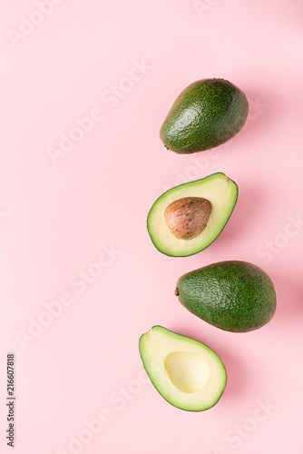 Half and full raw avocado minimalism pastel - 216607818