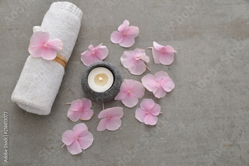 Plexiglas Spa Many Pink hydrangea petals with candle and rolled towel on gray background