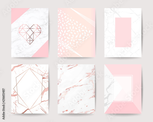 Obraz na płótnie pink and rose gold marble background vector collection design for wedding invitation cards ,cover, poster, banner and packaging design