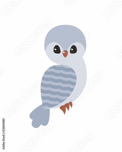 Fotobehang Uilen cartoon Cute owl in cartoon stile isolated on a white background. Childhood vector illustration.