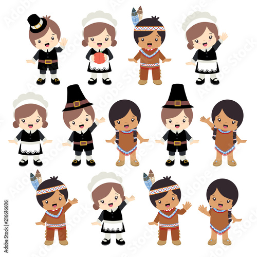 Native American Indian And Pilgrim Boy Girl Posing Set Vector Illustration Isolated On White
