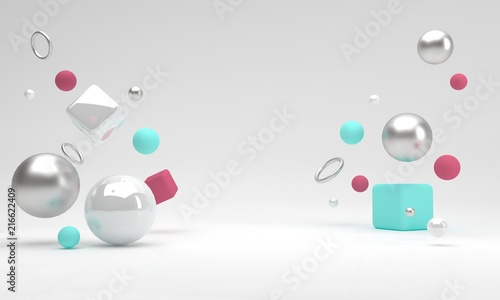 Abstract geometric shape scene. 3d rendering. Front view.