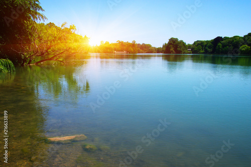 Plexiglas Pool Lake water and sun