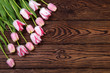 Beautiful pink tulips on wood  background