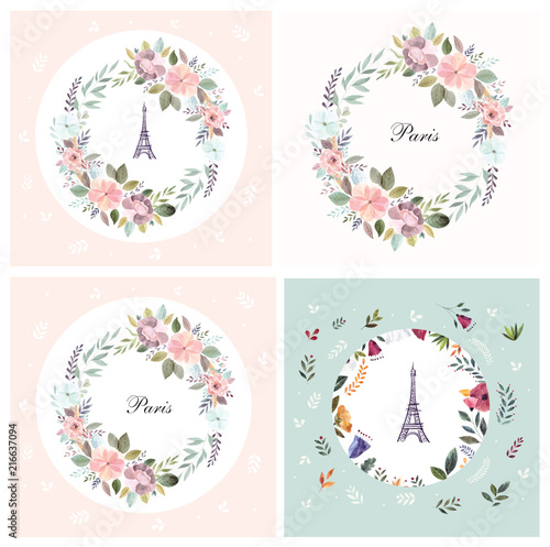 Set of vector illustration with Eiffel tower with a watercolor floral wreath