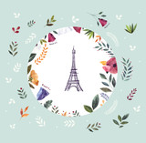 Vector illustration with Eiffel tower in a floral circle