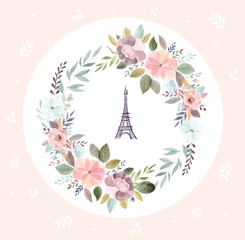 Vector illustration with Eiffel tower with a watercolor floral wreath