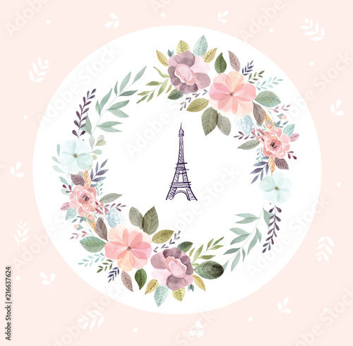 Wall mural Vector illustration with Eiffel tower with a watercolor floral wreath