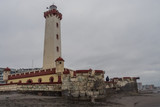 Landscape of Monumental Lighthouse of La Serena in a cloudy day, Chile
