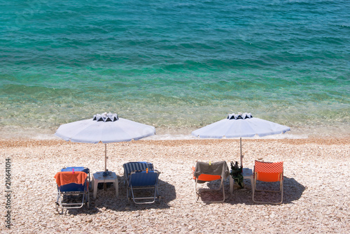 Foto Spatwand Santorini Summer abstract background of tropical beach in Ionian sea, Greece