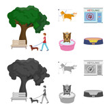 Walking with a dog in the park, combing a dog, a veterinarian office, bathing a pet. Vet clinic and pet care set collection icons in cartoon,monochrome style vector symbol stock illustration web.