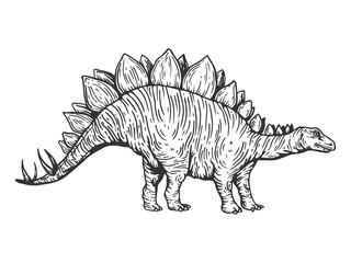 Stegosaurus dinosaur engraving vector © Alexander Pokusay