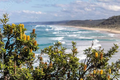 Foto Spatwand Blauwe hemel Lookout Double island point, Queensland