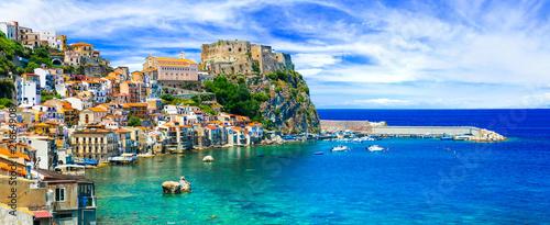 Fotobehang Freesurf beautiful beaches and towns of Calabria - Scilla. Italian summmer holidays.