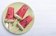 Leinwanddruck Bild - Homemade popsicle with watermelon