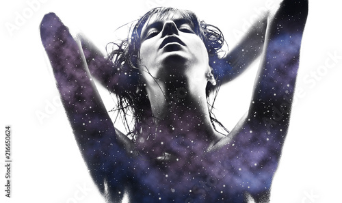 beauty and sensuality concept - double exposure of beautiful seductive woman and purple galaxy over white background - 216650624