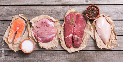 salmon , beef , pork and chicken - 216650633