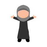 Happy Little Girl Moslem Illustration Design