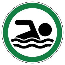 Srg413 Signroundgreen Srg  German  Ez413 Erlaubniszeichen Baden Und Schwimmen Erlaubt  English  Swimming Allowed  Green Xxl G6429 Sticker