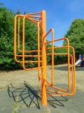 Orange playground climbing spiral