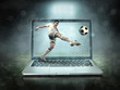 Leinwanddruck Bild - Caucasian soccer Players in dynamic action with ball