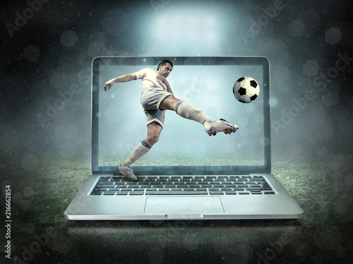Leinwanddruck Bild Caucasian soccer Players in dynamic action with ball
