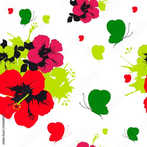 Hawaiian flowers, butterflies, watercolor, exotic plants, isolated on a white - 216668696
