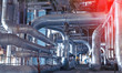 Industrial Steel pipelines, valves, cables and walkways