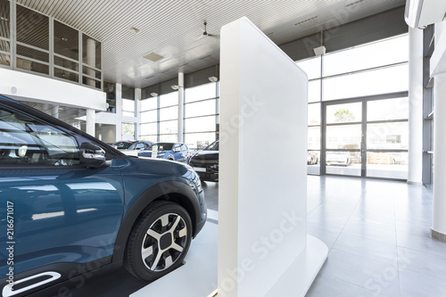 Fridge magnet Car showroom with expensive vehicles for sale and rent