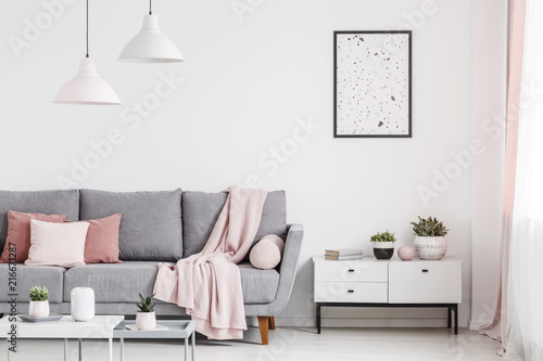 Leinwanddruck Bild Poster above cabinet with plants in white flat interior with pink blanket on grey couch. Real photo