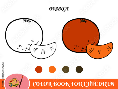Cartoon orange in a color book with color point for children - 216672262