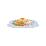 Frog legs with garnish on a plate, delicious dish of French cuisine vector Illustration on a white background - 216673467