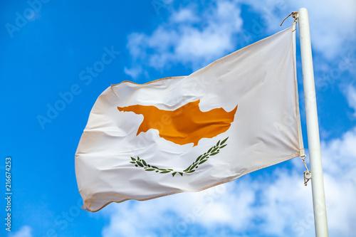 In de dag Cyprus National flag of Cyprus waving on a flagpole