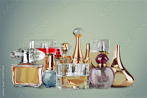 Aromatic Perfume bottles on background - 216679663