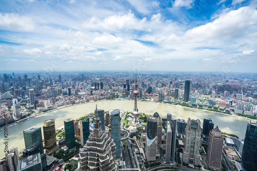 Foto Spatwand Shanghai city skyline in shanghai china