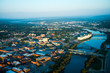 Aerial photographs of Danville,VA,old cotton mills and the Dan river. - 216682250