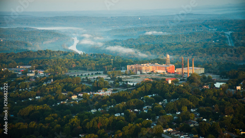 Aerial photographs of Danville,VA,old cotton mills and the Dan river. - 216682222